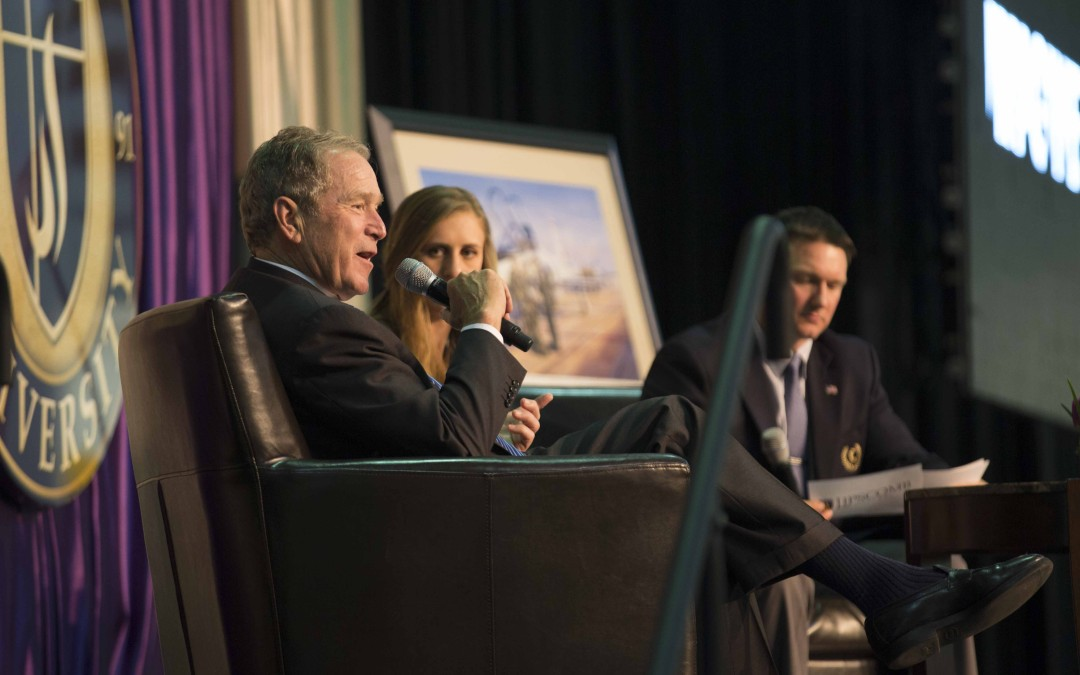 Former president George W. Bush shares message of faith, passion with student body