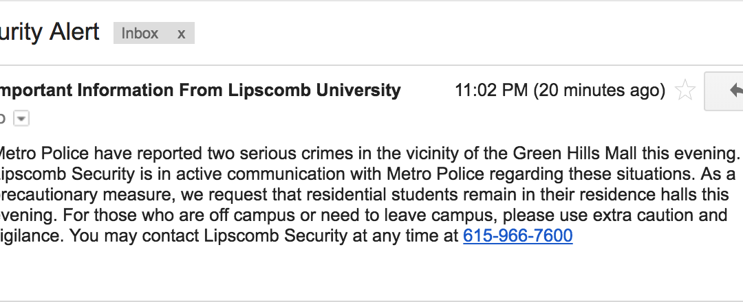 BREAKING: Campus police asks students to stay in dorms overnight