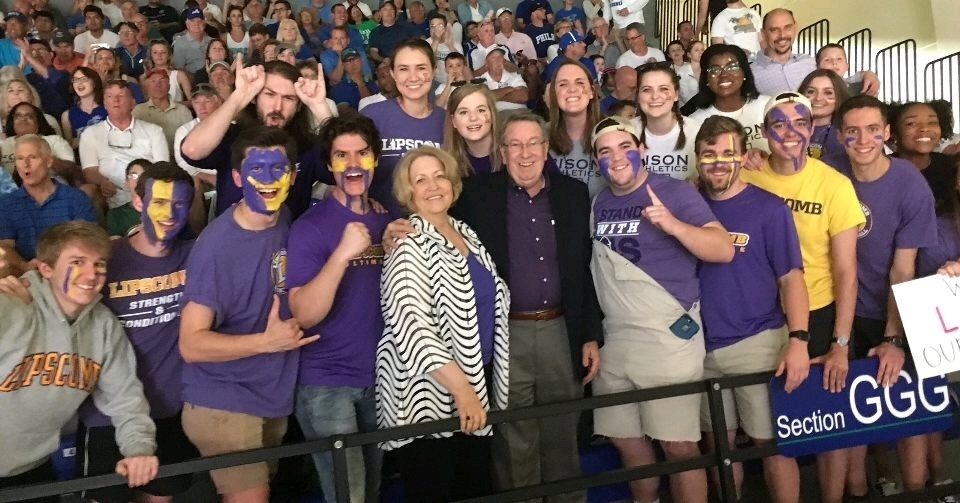 President Lowry reacts to Lipscomb Bisons reaching tournament