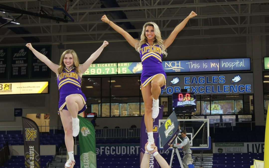 Lipscomb cheerleaders react to first win at ASUN Championship
