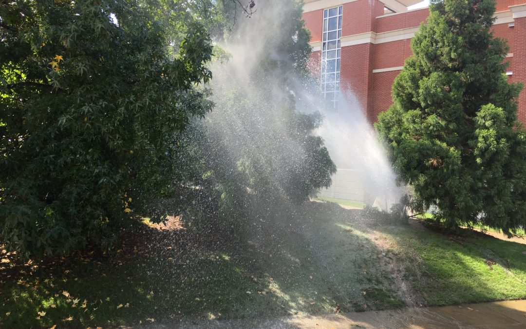 Apparent water main break causes problems on campus