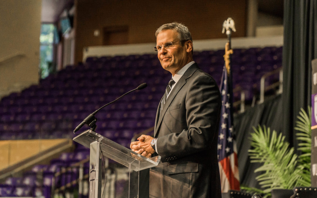 Governor Bill Lee speaks to audience of Nashville business leaders on campus