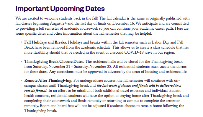 Lipscomb updates Thanksgiving plans, asks students not to return after break