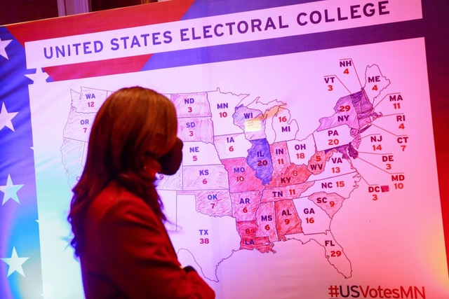 Students react as Electoral College meets for formal affirmation of Joe Biden's victory